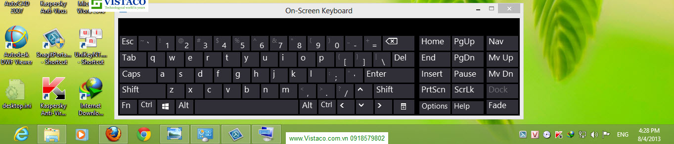 on screen keyboard Windown 8