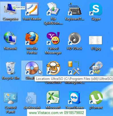 Click chuột vào Ultraiso mà biểu tượng My Computer lại được tô đen vì bàn phím liệt